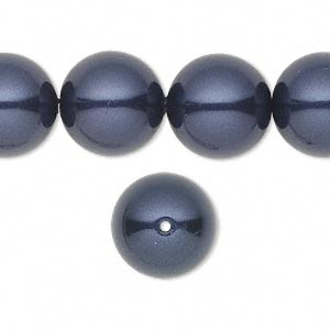 pearl, swarovski crystals, night blue, 14mm round with 1.3-1.5mm hole (5811). sold per pkg of 10.