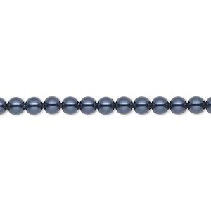 pearl, swarovski crystals, night blue, 4mm round (5810). sold per pkg of 100.