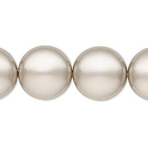 pearl, swarovski crystals, platinum, 16mm coin (5860). sold per pkg of 25.