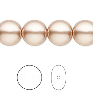 pearl, swarovski crystals, rose gold, 12mm coin (5860). sold per pkg of 100.