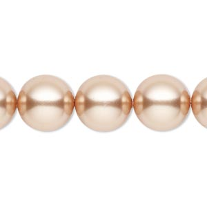 pearl, swarovski crystals, rose gold, 12mm round (5810). sold per pkg of 10.