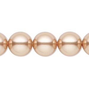 pearl, swarovski crystals, rose gold, 12mm round with 1.3-1.5mm hole (5811). sold per pkg of 10.