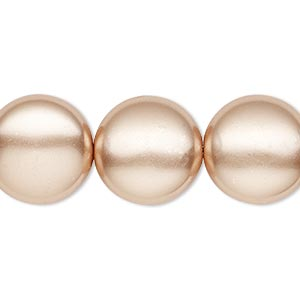pearl, swarovski crystals, rose gold, 16mm coin (5860). sold per pkg of 25.