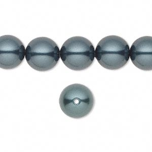 pearl, swarovski crystals, tahitian, 10mm round with 1.3-1.5mm hole (5811). sold per pkg of 100.