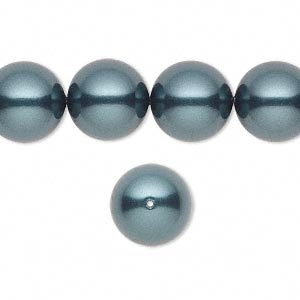pearl, swarovski crystals, tahitian, 12mm round (5810). sold per pkg of 100.