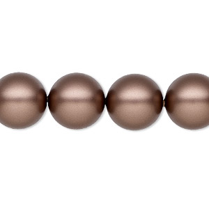 pearl, swarovski crystals, velvet brown, 12mm round (5810). sold per pkg of 100.