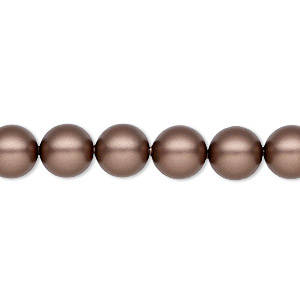 pearl, swarovski crystals, velvet brown, 8mm round (5810). sold per pkg of 250.