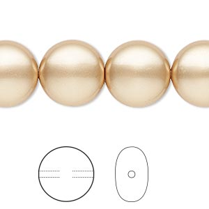 pearl, swarovski crystals, vintage gold, 14mm coin (5860). sold per pkg of 10.