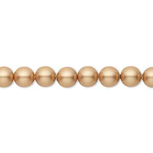pearl, swarovski crystals, vintage gold, 6mm round (5810). sold per pkg of 50.