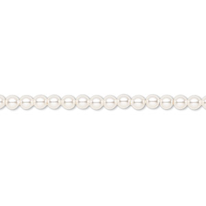 pearl, swarovski crystals, white, 3mm round (5810). sold per pkg of 100.