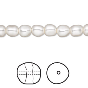 pearl, swarovski crystals, white, 6mm baroque (5840). sold per pkg of 500.
