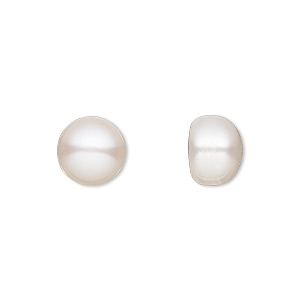 pearl, white lotus™, cultured freshwater (bleached), white, 10mm half-drilled button, b grade, mohs hardness 2-1/2 to 4. sold per pkg of 2.