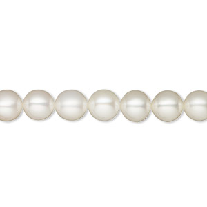 pearl, white lotus™, cultured freshwater (bleached), white, 6.5-7mm semi-round, b+ grade, mohs hardness 2-1/2 to 4. sold per 16-inch strand.