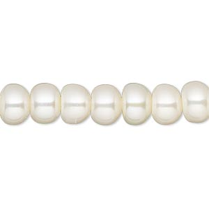 pearl, white lotus™, cultured freshwater (bleached), white, 8.5-9mm button with 1.7mm hole, c grade, mohs hardness 2-1/2 to 4. sold per 16-inch strand.
