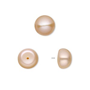pearl, white lotus™, cultured freshwater, peach, 10mm half-drilled button, b grade, mohs hardness 2-1/2 to 4. sold per pkg of 2.