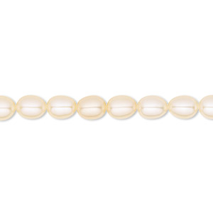 pearl, white lotus™, cultured freshwater, peach, 5-5.5mm rice, b grade, mohs hardness 2-1/2 to 4. sold per 16-inch strand.