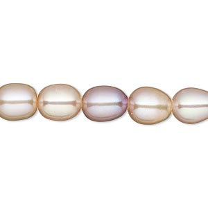 pearl, white lotus™, cultured freshwater, peach and mauve, 7.5-8mm rice with 1.7mm hole, c grade, mohs hardness 2-1/2 to 4. sold per 16-inch strand.