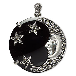 pendant / brooch, black onyx (dyed) / marcasite (natural) / sterling silver, 35mm round with moon face and stars. sold individually.