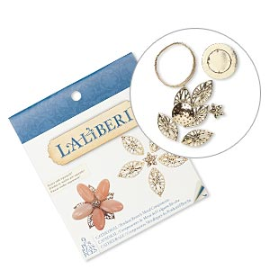 pendant / brooch kit, laliberi™, antiqued gold-finished steel and pewter (zinc-based alloy), flower. sold per kit.