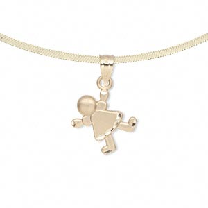 pendant, 14kt gold, 14x10mm single-sided satin-finished little girl. sold individually.
