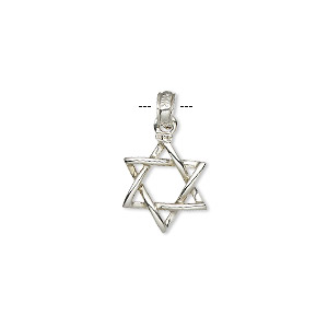 pendant, 14ktw white gold, 13x13mm double-sided woven star of david. sold individually.