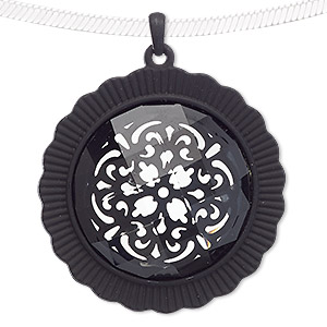 pendant, acrylic and steel, black and clear, 55mm matte round with flower design. sold individually.