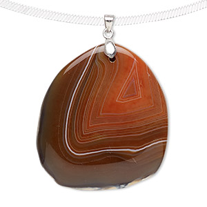 pendant, agate (dyed) and imitation rhodium-plated brass, red-brown, 60x40mm-70x50mm freeform. sold individually.