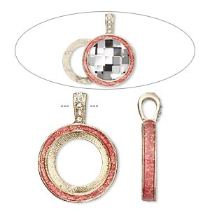 pendant, almost instant jewelry, epoxy / swarovski crystals / gold-finished pewter (zinc-based alloy), rose pink and crystal clear with glitter, 33x24mm single-sided with 20mm round setting. sold individually.