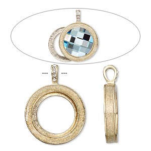 pendant, almost instant jewelry, epoxy / swarovski crystals / gold-finished pewter (zinc-based alloy), crystal clear with glitter, 45x35mm single-sided with 30mm round setting. sold individually.