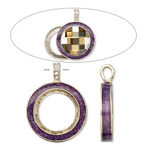pendant, almost instant jewelry, epoxy / swarovski crystals / gold-finished pewter (zinc-based alloy), amethyst purple and crystal clear with glitter, 45x35mm single-sided with 30mm round setting. sold individually.
