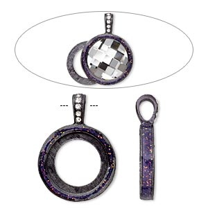 pendant, almost instant jewelry, epoxy / swarovski crystals / gunmetal-finished pewter (zinc-based alloy), amethyst purple and crystal clear with glitter, 33x24mm single-sided with 20mm round setting. sold individually.