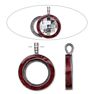 pendant, almost instant jewelry, epoxy / swarovski crystals / gunmetal-finished pewter (zinc-based alloy), light siam red and crystal clear with glitter, 45x35mm single-sided with 30mm round setting. sold individually.