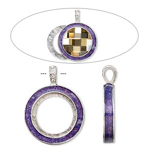 pendant, almost instant jewelry, epoxy / swarovski crystals / imitation rhodium-finished pewter (zinc-based alloy), amethyst purple and crystal clear with glitter, 45x35mm single-sided with 30mm round setting. sold individually.