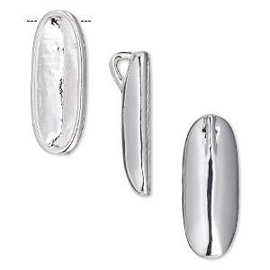 pendant, almost instant jewelry, silver-plated pewter (zinc-based alloy), 23.5x9.5mm oval with 21x7mm long classical oval setting and hidden bail. sold individually.