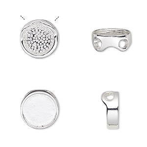 pendant, almost instant jewelry, slide, silver-plated pewter (zinc-based alloy), 12mm two-sided round with 10mm round setting. sold per pkg of 2.