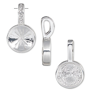 pendant, almost instant jewelry, swarovski crystals and silver-plated pewter (zinc-based alloy), crystal clear, 24.5x14mm single-sided round with 12mm rivoli setting. sold individually.