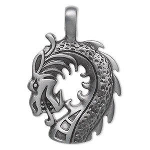 pendant, almost jewelry™, pewter (zinc-based alloy), 51x34mm dragon head. sold individually.