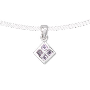 pendant, amethyst (natural) and sterling silver, 21x12mm diamond with 3x3mm faceted diamond. sold individually.