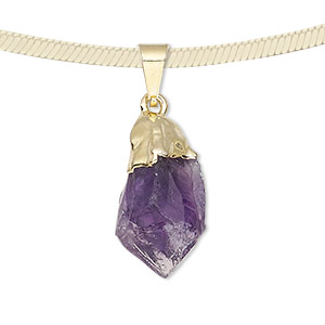 pendant, amethyst (natural) with gold-plated brass and copper, 20x12mm-38x14mm hand-cut point. sold individually.
