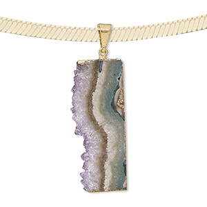 pendant, amethyst (natural) with gold-plated copper and brass, 40x15mm-40x20mm freeform slice. sold individually.