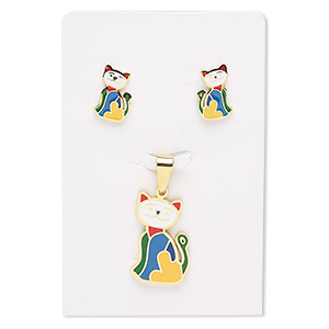 pendant and earring, enamel and gold-finished stainless steel, multicolored, 27x17mm cat, 15x10mm cat with post. sold per set.