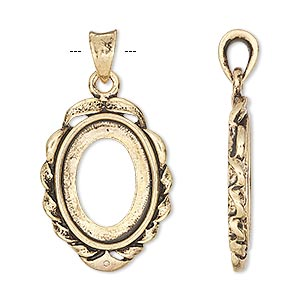 pendant, antique gold-finished brass, 35x19mm with 18x13mm oval setting. sold per pkg of 2.