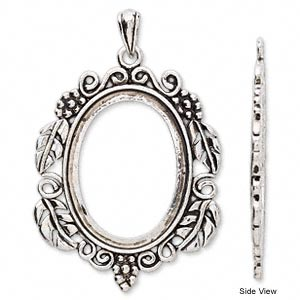 pendant, antique silver-plated brass, 72x47mm oval with flowers and leaves with 40x30mm oval setting. sold per pkg 2.
