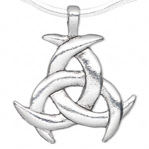 pendant, antique silver-plated pewter (zinc-based alloy), 42x37mm single-sided intertwined moons. sold per pkg of 2.