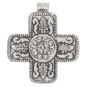 pendant, antiqued aluminum, 65x63mm cross with flower design. sold individually.