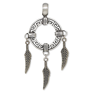 pendant, antiqued pewter (tin-based alloy), 2-3/4 x 1-3/8 inch round with feathers. sold individually.