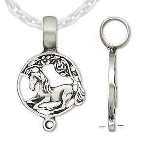 pendant, antiqued pewter (tin-based alloy), 31x20mm round with horse and loop. sold individually.
