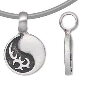 pendant, antiqued pewter (tin-based alloy), 33x21mm single-sided yin-yang. sold individually.