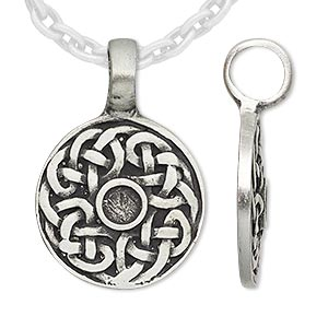 pendant, antiqued pewter (tin-based alloy), 34x23mm round with celtic knot and 4mm round setting. sold individually.