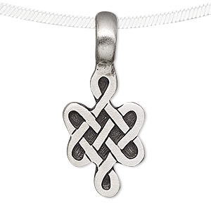 pendant, antiqued pewter (tin-based alloy), 39x17mm celtic knot. sold individually.
